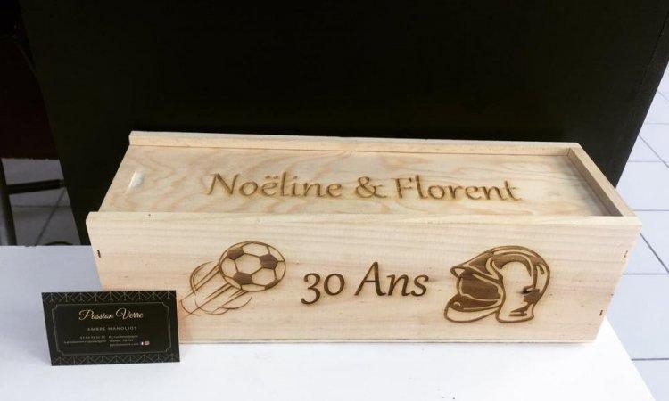 DIAM Laser Gravure sur bois Lyon,coffret à vin personnalisé avec une gravure